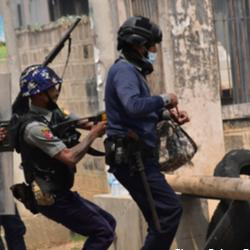 Taunggyi, Myanmar - 11 March 2021: Myanmar military cracks down on peaceful protesters