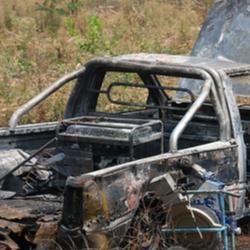 Car bomb wreck