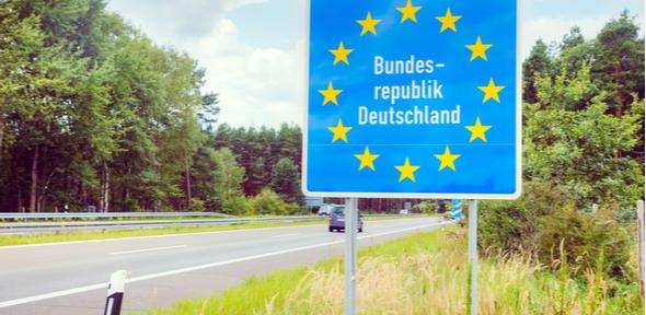 Germany border road sign at the highway
